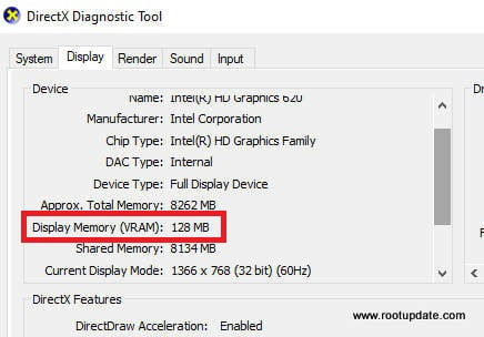 Check the Amount of VRAM using DXDIAG tool