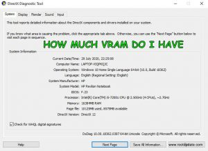 How much VRAM Do i have