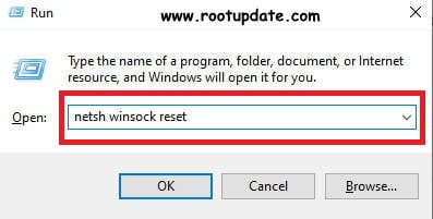 Giving Netsh winsock reset command